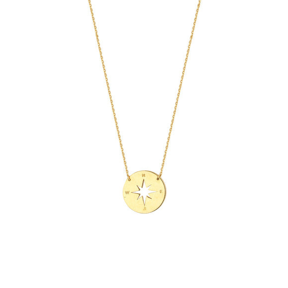 14K Yellow Gold Mini Compass Adjustable Necklace