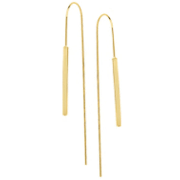 14K Yellow Gold Flat Round Hook Threader Earrings