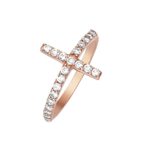14K Rose Gold CZ Cross Ring (more color)