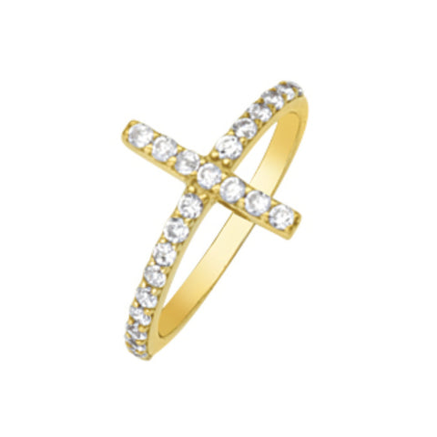 14K Yellow Gold CZ Cross Ring (more color)