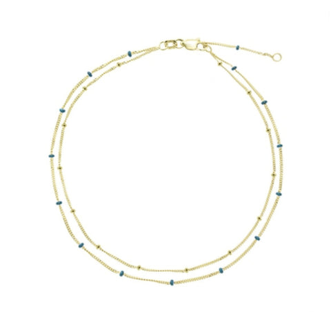 14K Gold Double Strand Blue Beads Anklet