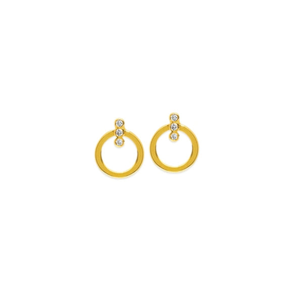14K Yellow Gold Diamonds on Flat Circle Stud Earring