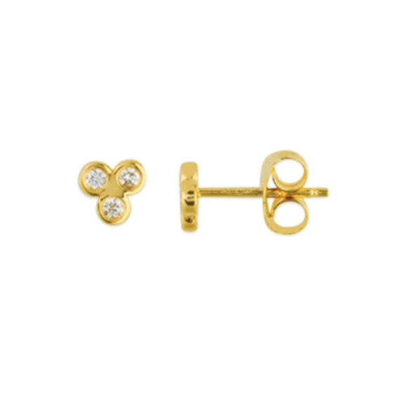 14K Yellow Gold Trinity Diamond Stud Earrings