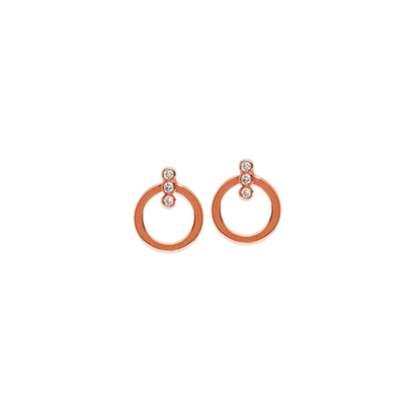 14K Rose Gold Diamonds on Flat Circle Stud Earring