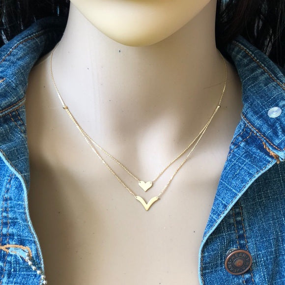 14K Yellow Gold Layer Duo Heart & V Adjustable Necklace