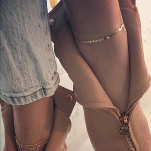 14K Gold Fancy Valentino Chain Anklet