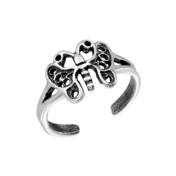 925 Sterling Silver Butterfly Adjustable Toe Ring or Finger Ring