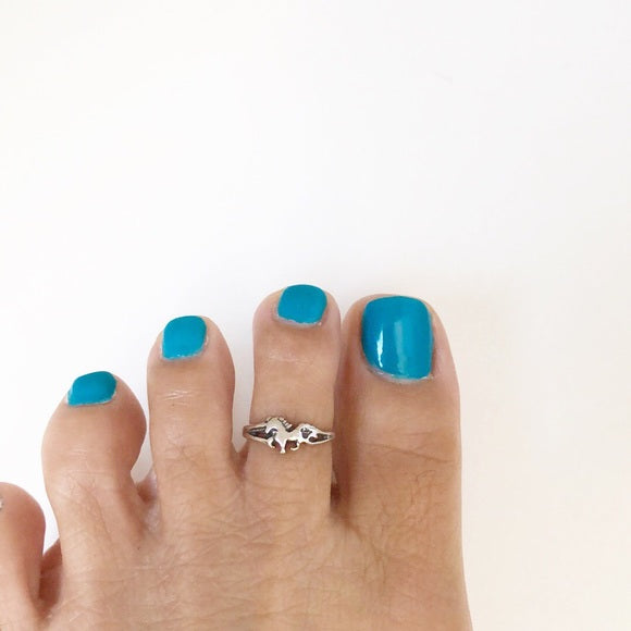 925 Sterling Silver Horse Adjustable Toe Ring or Finger Ring