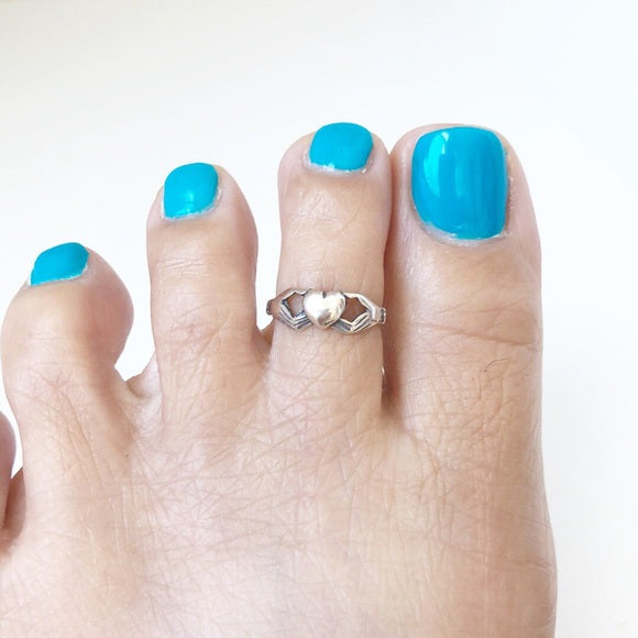 925 Sterling Silver Claddagh Adjustable Toe Ring