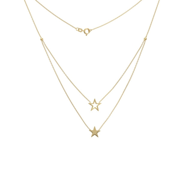 14K Yellow Gold Duo Open and Solid Star Necklace with Adjustable Chain