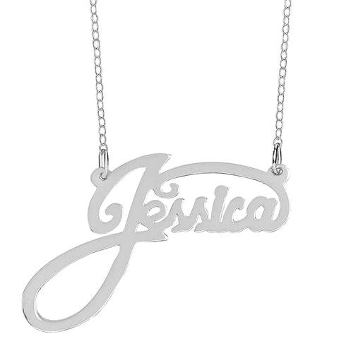 "Personalized Sterling Silver Name Plate Necklace in ""Jessica"" Style (more colors)"