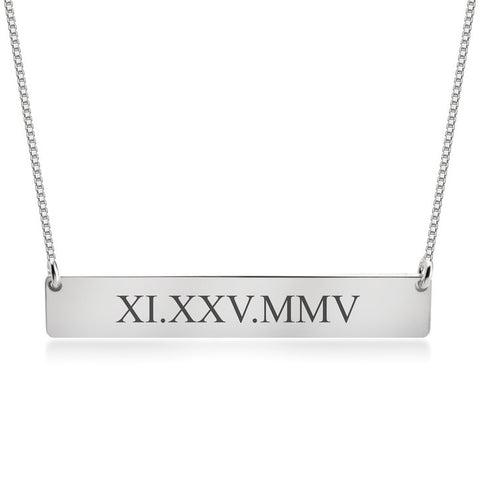 Personalized Sterling Silver Roman Numeral Date Bar Necklace (more colors)