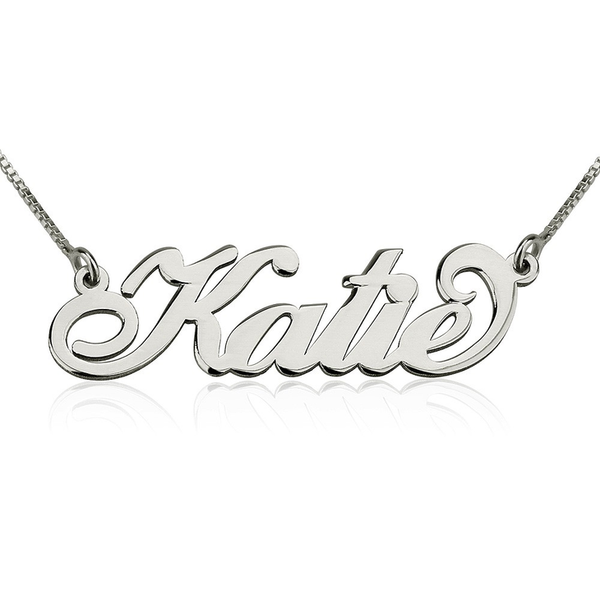 "Personalized Sterling Silver Dainty Name Plate Necklace in ""Carrie"" Script (more colors)"
