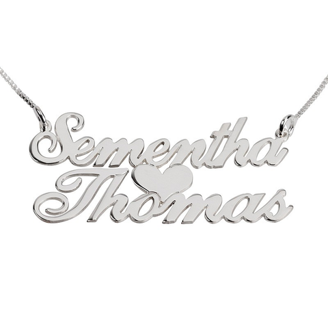 Copy of Personalized Two Names Heart Necklace (Silver & Gold)