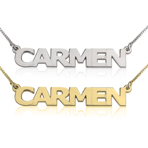 Personalized Sterling Silver Capital Name Bar Necklace (more colors)