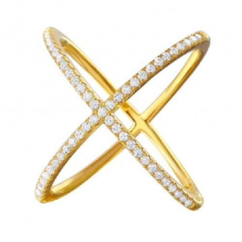 925 Sterling Silver Nickel Free Gold Plated 4 Way CZ Ring size 6 or 7