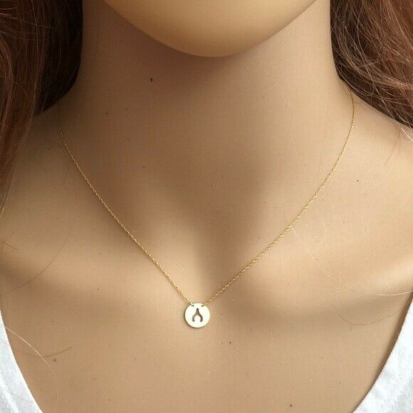 14K Yellow Gold Mini Disk-Cut out Wish Bone Dainty Necklace - Minimalist