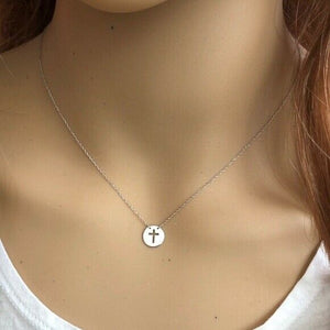 14K White Gold Mini Disk Cut Out Cross Dainty Necklace - Minimalist