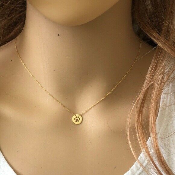 14K Yellow Gold Mini Disk-Cut Out Paw Print Adjustable Dainty Necklace - Minimalist