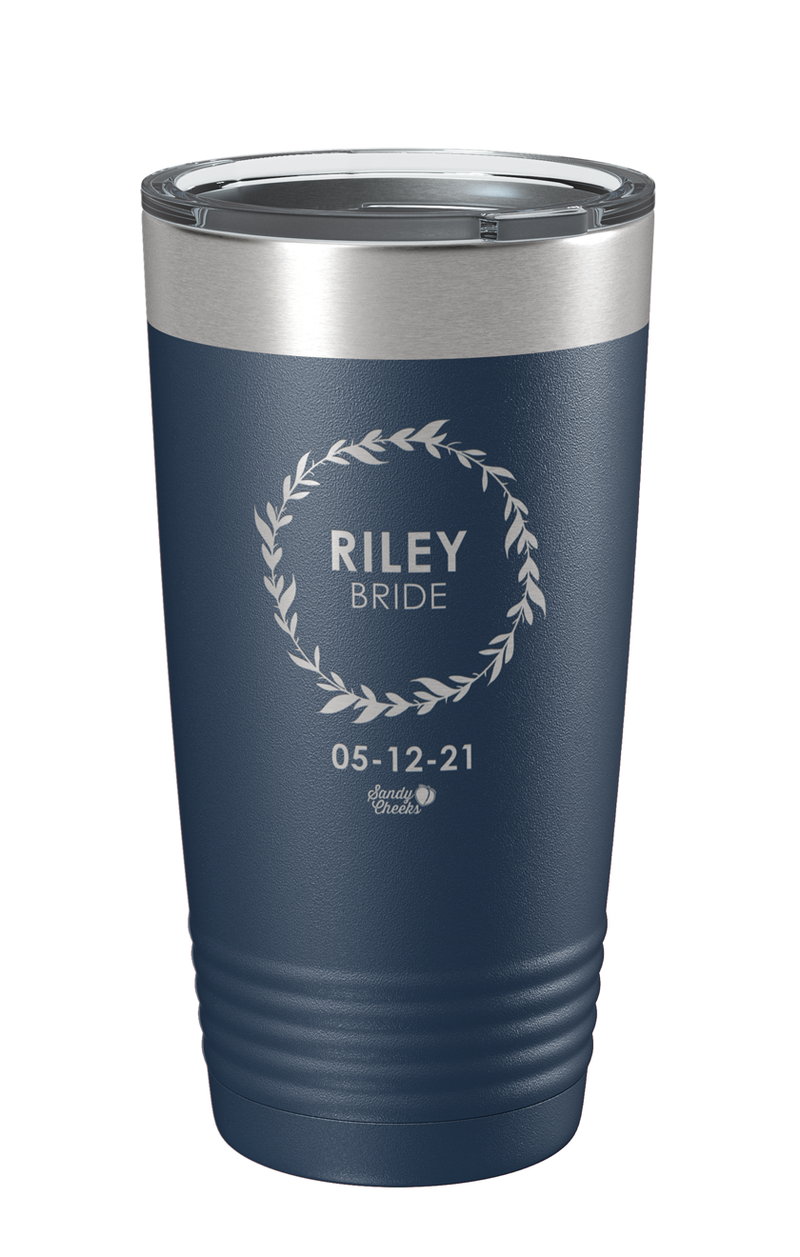 Laser Engraved Wedding (Wreath) Bride Laser Etched Tumbler