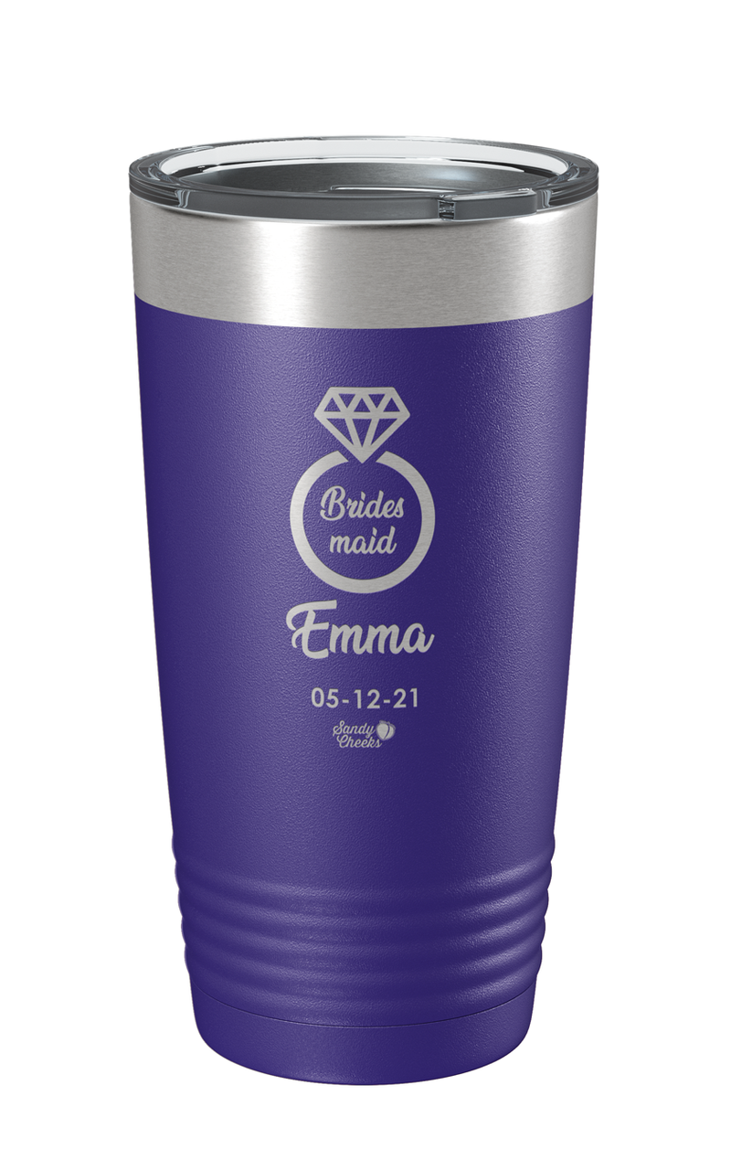Laser Engraved Wedding (Ring) Bridesmaid Laser Etched Tumbler