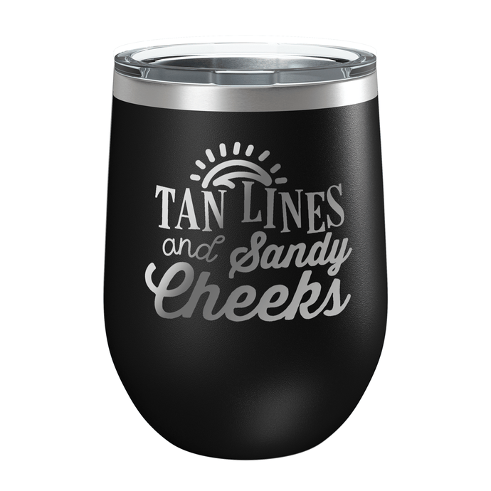 Tan Lines and Sandy Cheeks Laser Etched Wine Cup