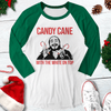 Candy Cane With The White On Top Christmas Raglan Tee