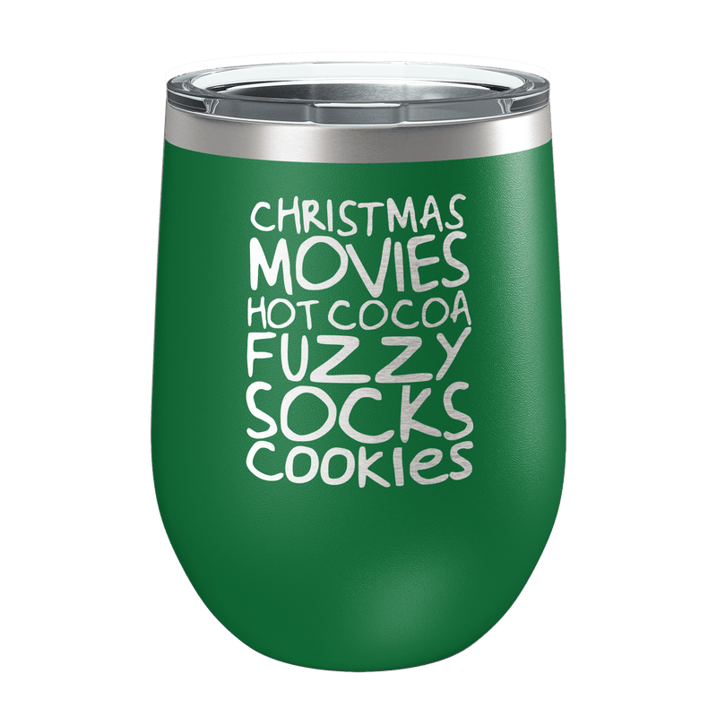 Christmas Movies, Hot Cocoa Laser Etched Wine Cup