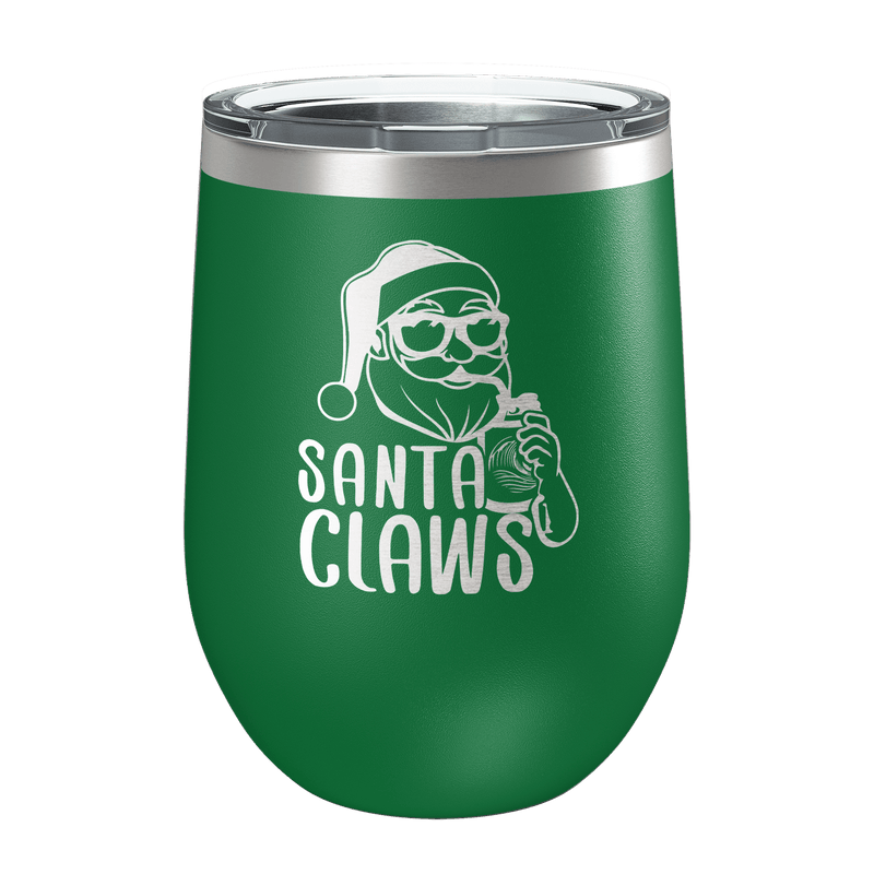 Santa Claws Laser Etched Wine Cup