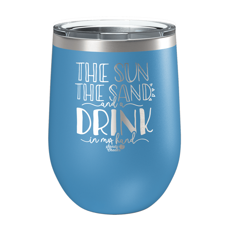 The Sun, The Sand Laser Etched Wine Cup