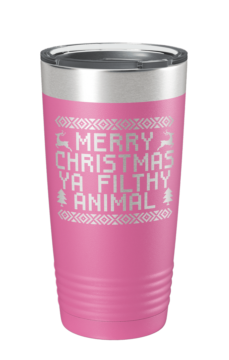 Merry Christmas Ya Filthy Animal Laser Etched Tumbler