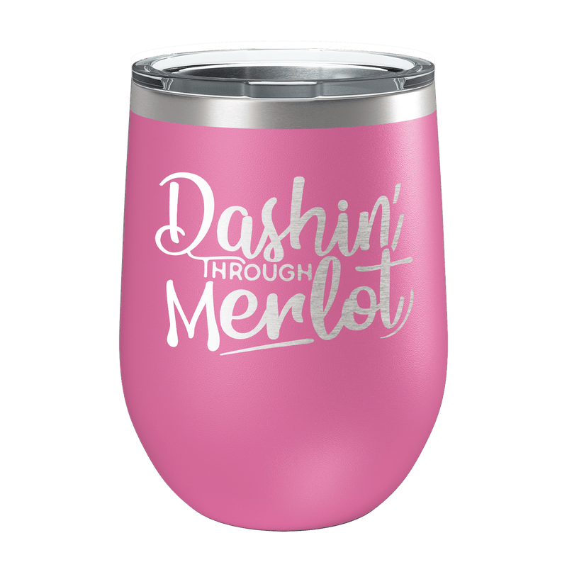 Dashin' Through Merlot Laser Etched Wine Cup