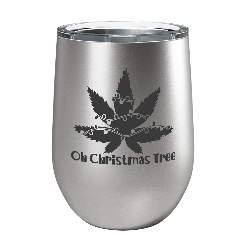 Oh Christmas Tree Laser Etched Wine Cup