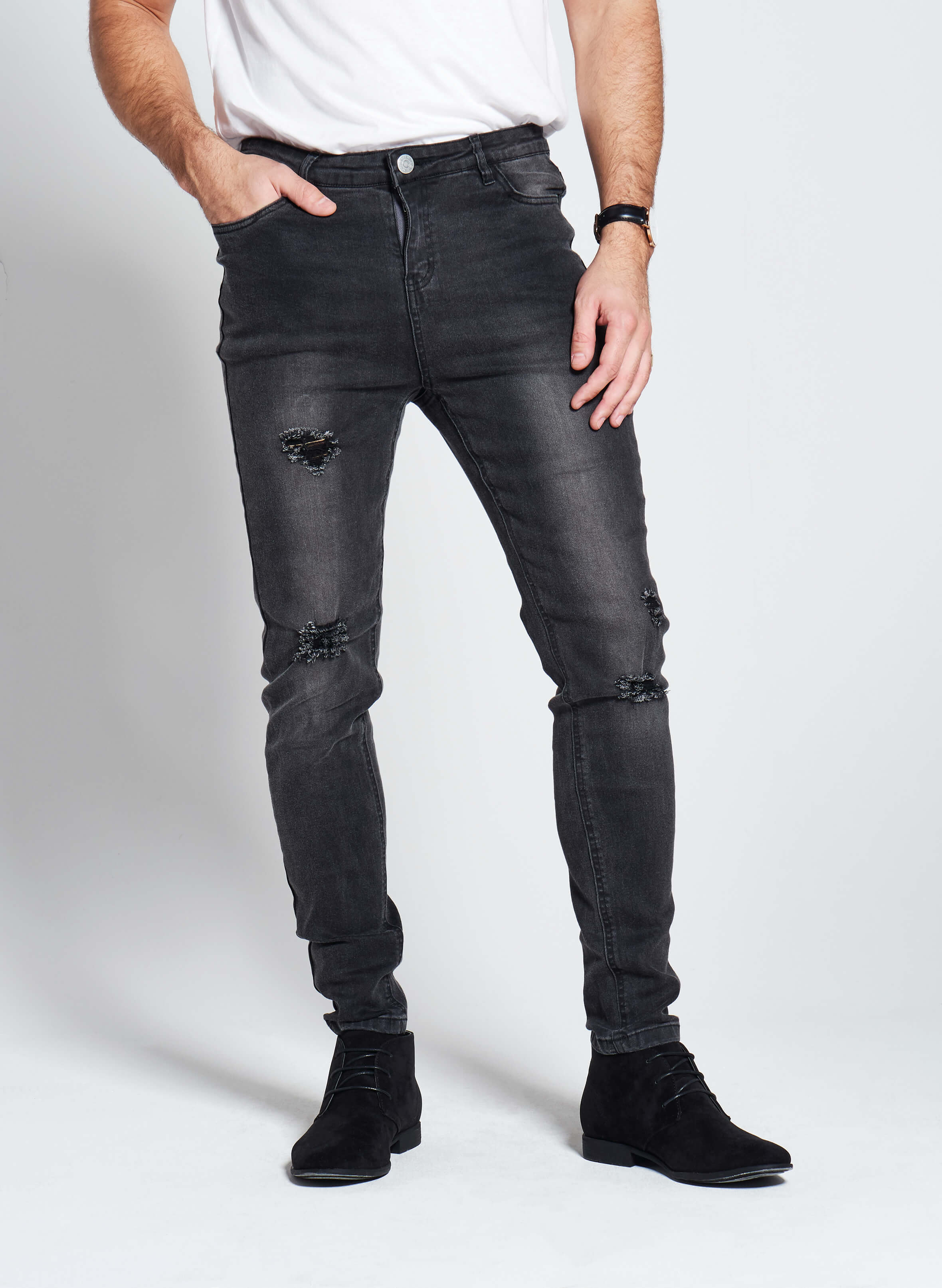 Denim Only® Slim Fit Jeans - Ripped Washed Black - Slim Fit