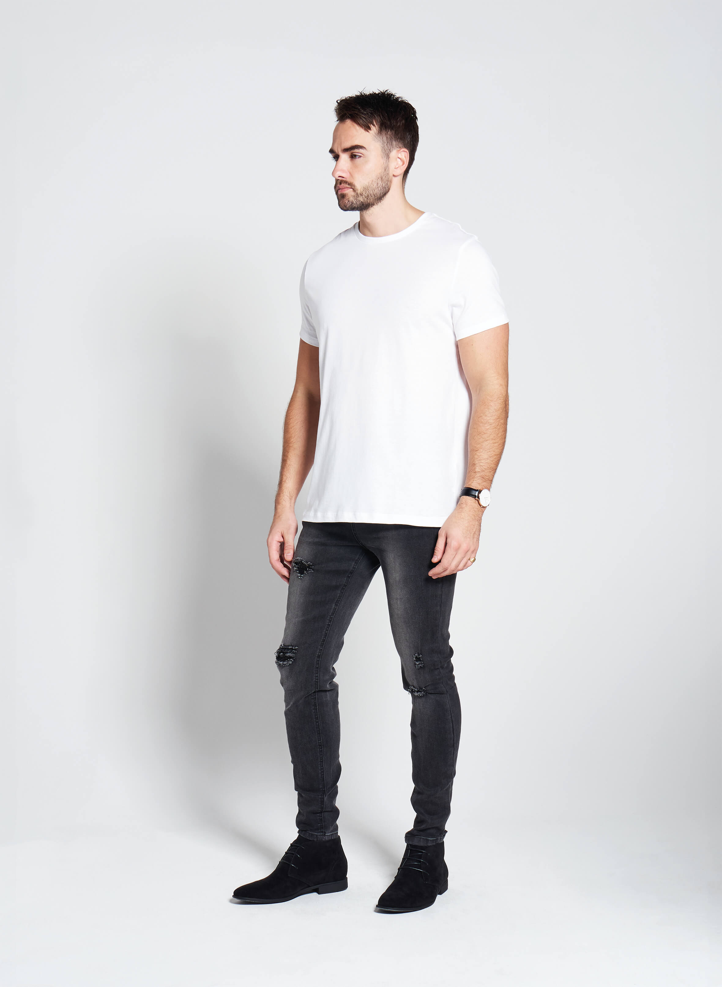 Denim Only® Slim Fit Jeans - Ripped Washed Black