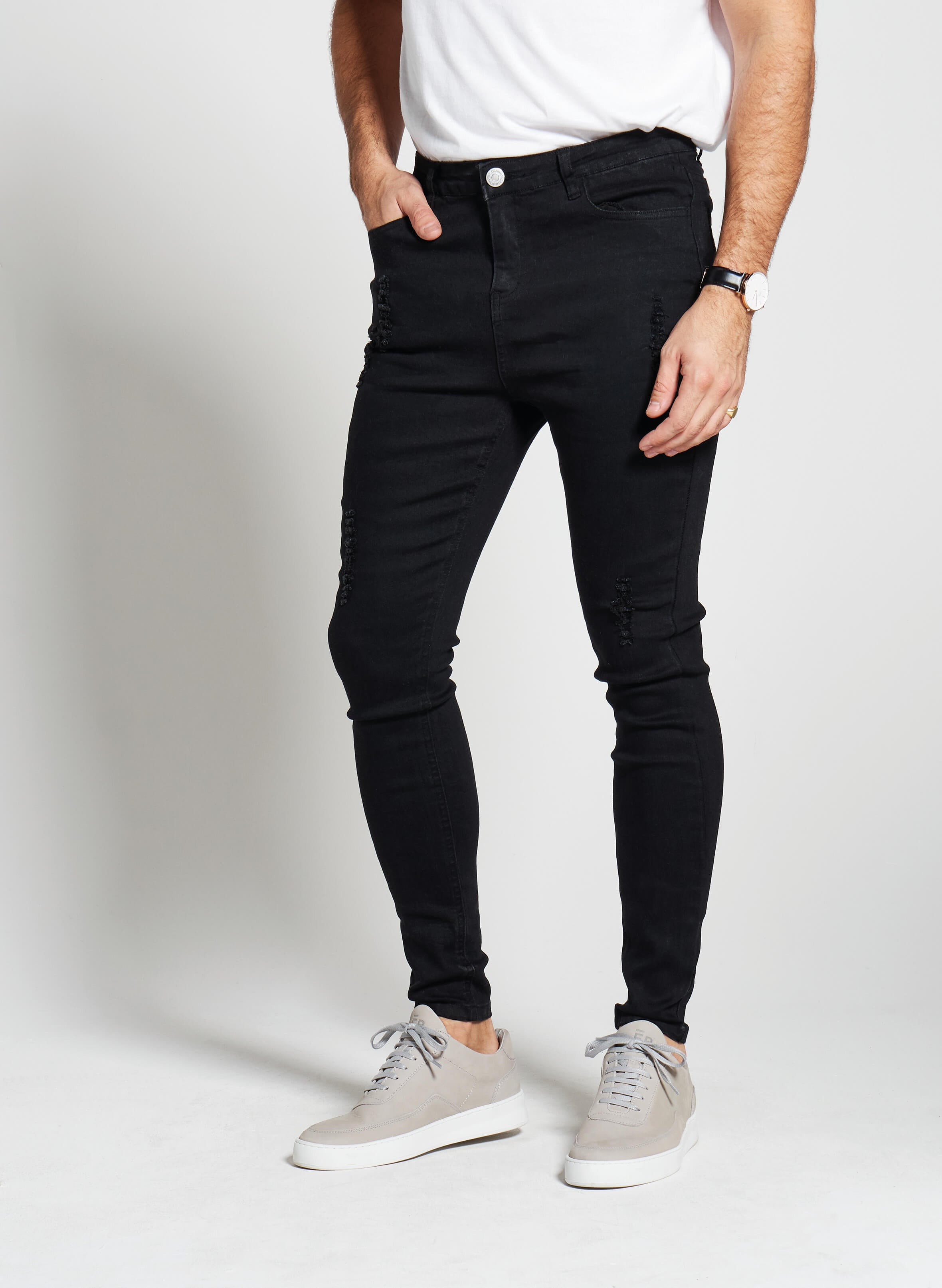 Denim Only® Spray On Jeans - Distressed Black