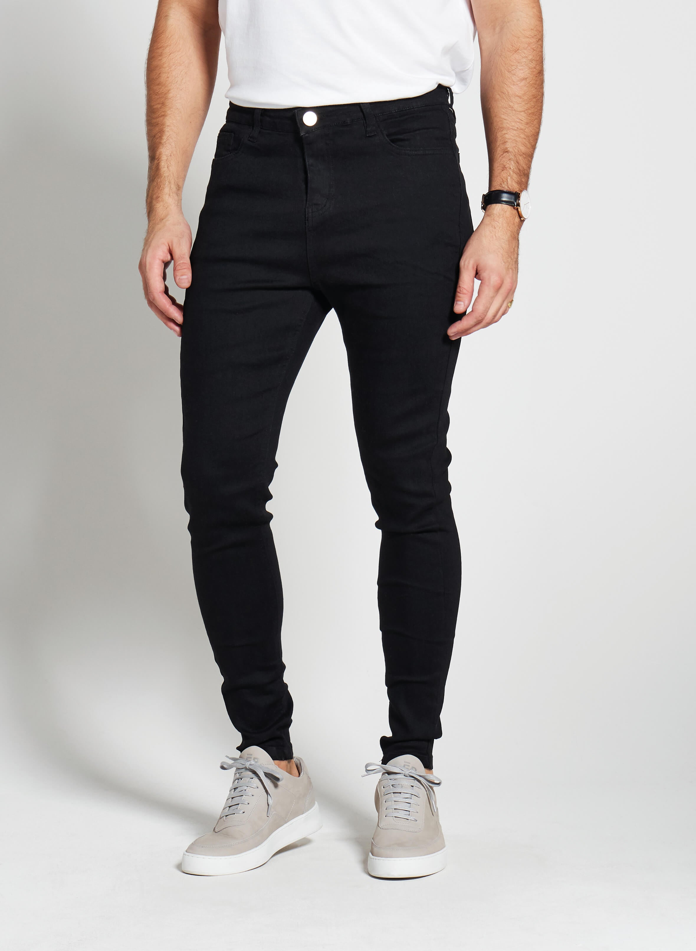 Men's spray on denim jeans, skinny stretch fit