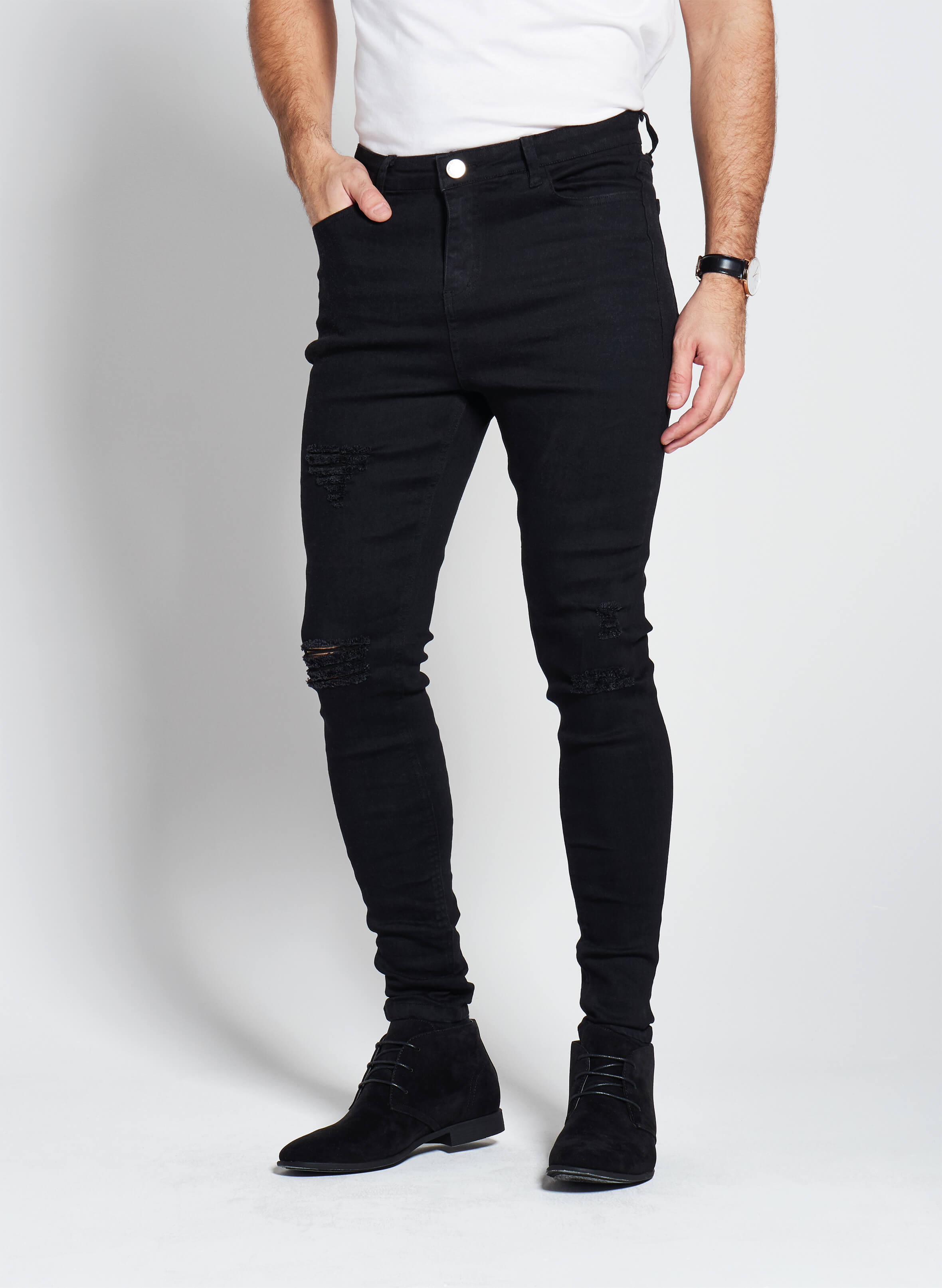Denim Only® Spray On Jeans - Ripped Black