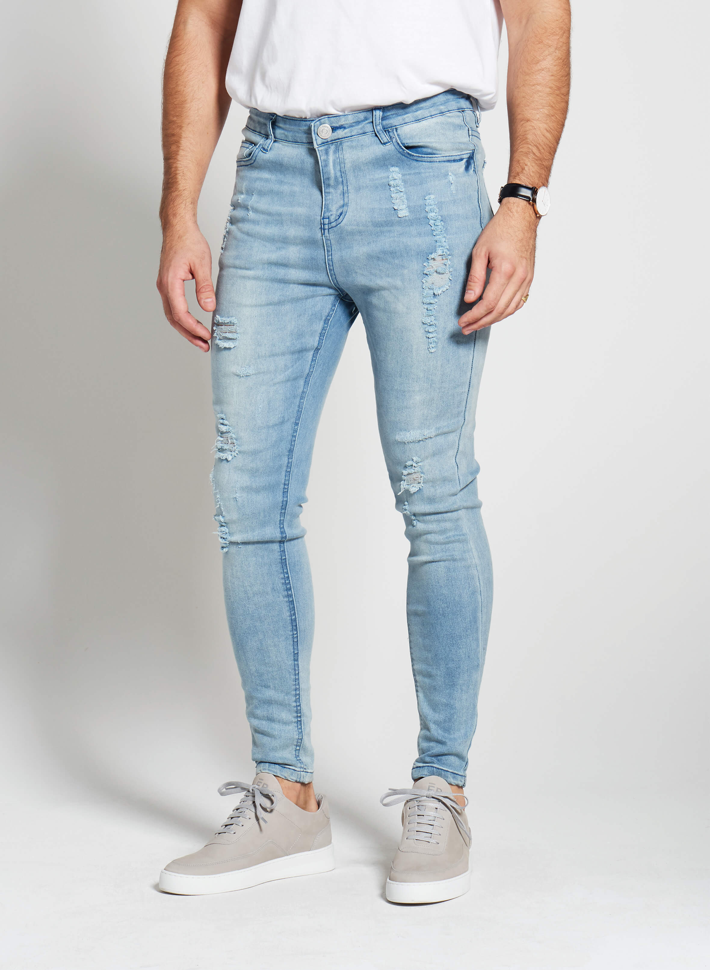Denim Only® Spray On Jeans - Distressed Light Blue Wash