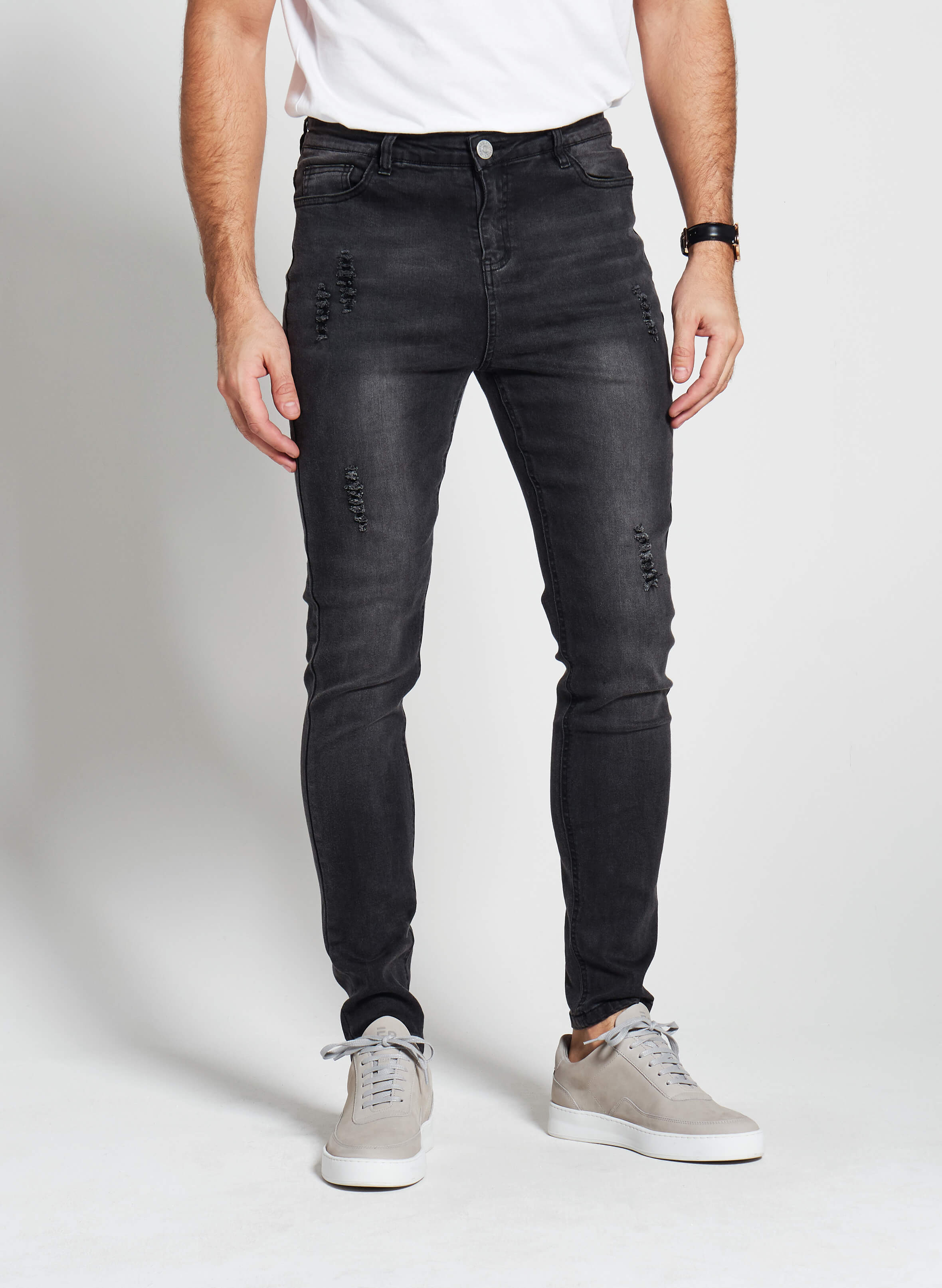 Denim Only® Slim Fit Jeans - Distressed Washed Black