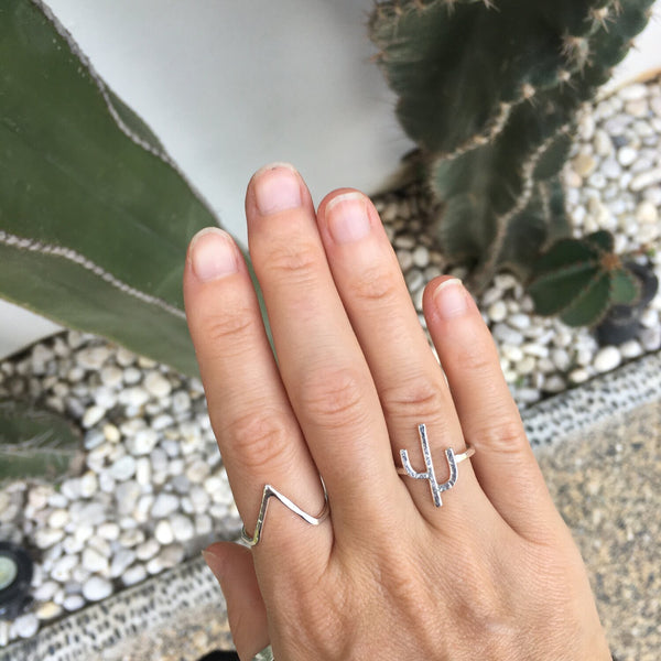 SILVER CACTUS RING