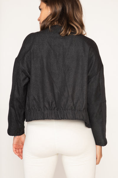 Denim Fringed Crop Jacket