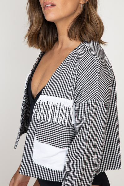Checked Fringed Crop Jacket