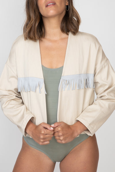 Natural Fringed Crop Jacket