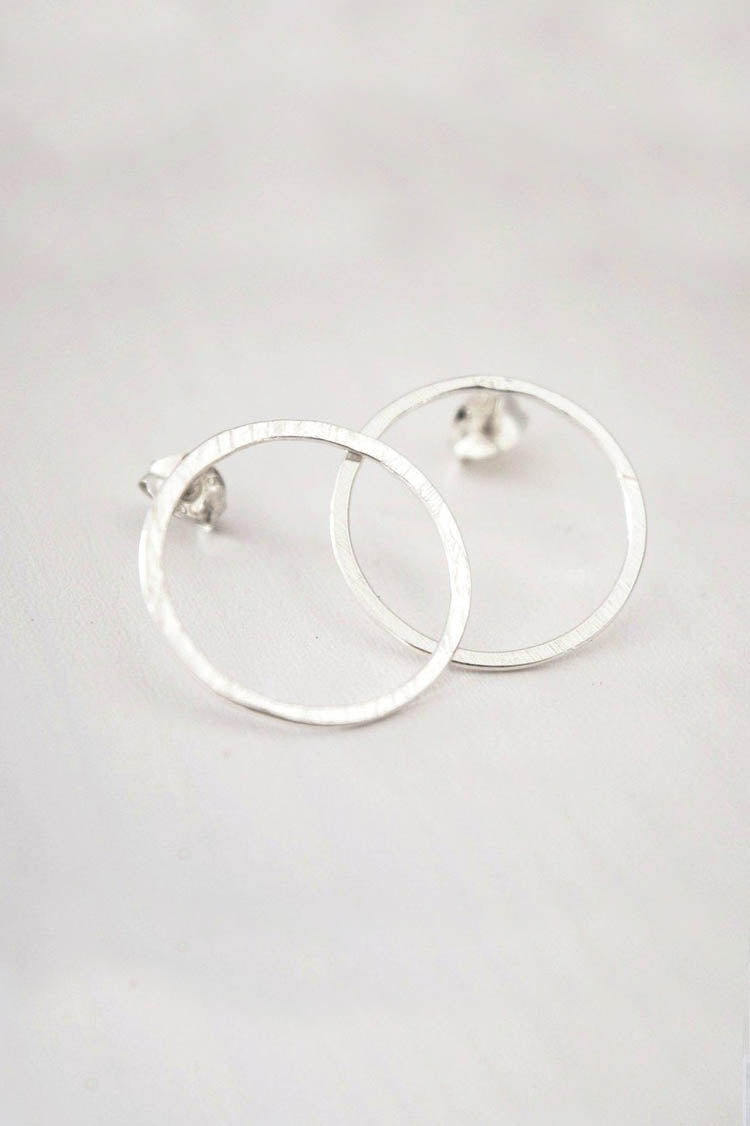Silver Lunar Stud Earrings