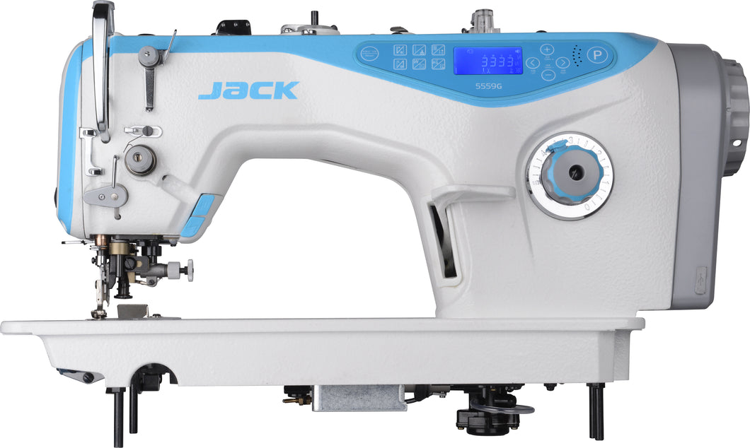 JK-5559G: Computerized, Direct Drive, Semi-Dry, Drop Feed, Single Needle Sewing Machine with Edge Trimmer
