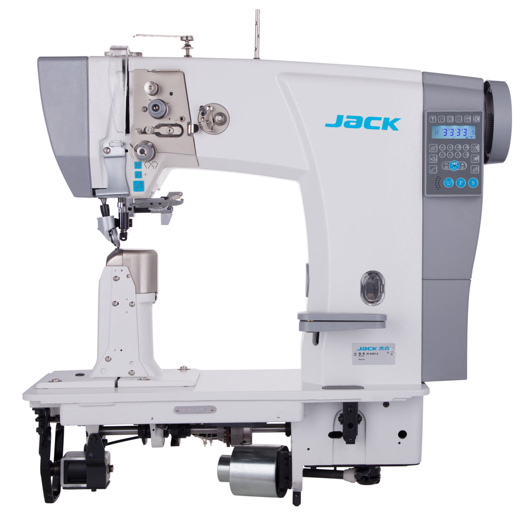 JK-6691: Computerized, Direct Drive, Roller Feed, Single Needle, Post Bed Lockstitch Machine