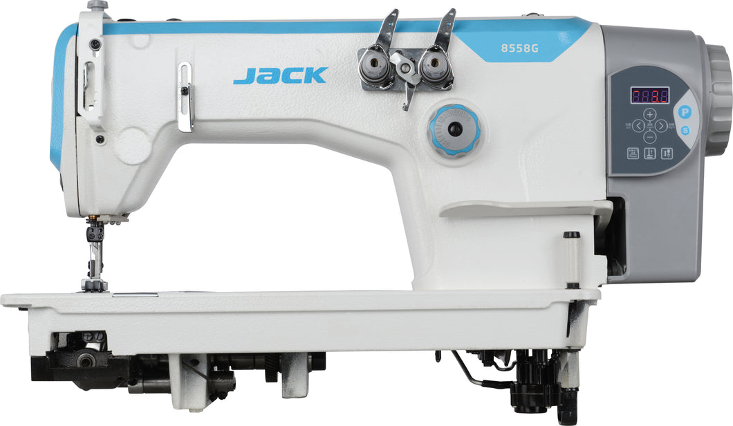 JK-8558G-WZ: Computerized, Direct Drive, Semi-Dry, Parallel Double Needle Chainstitch Machine