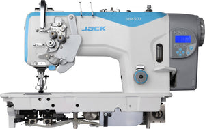 JK-58750J-E: Computerized, Direct Drive, Semi-Dry, Needle Feed, Split Double Needle Lockstitch Machine with Auto Cornering, Big Hook