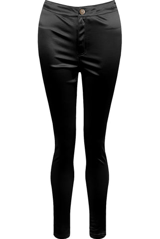 High Shine Satín Leggings - Svartar